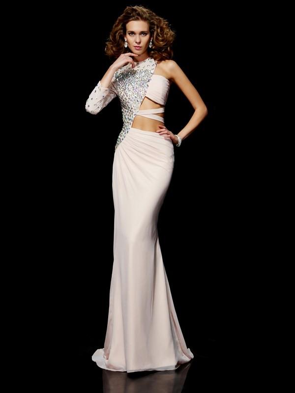 Sheath/Column One-Shoulder Sleeveless Ruffles Long Chiffon Dresses