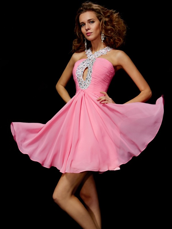 A-Line/Princess V-neck Sleeveless Beading Sequin Short Chiffon Homecoming Dresses