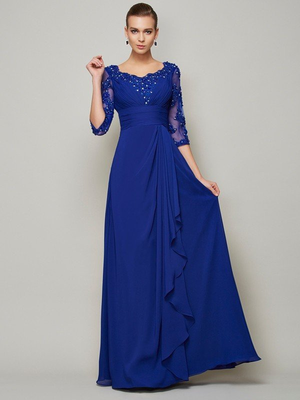 A-Line/Princess Scoop 3/4 Sleeves Lace Long Chiffon Mother of the Bride Dresses