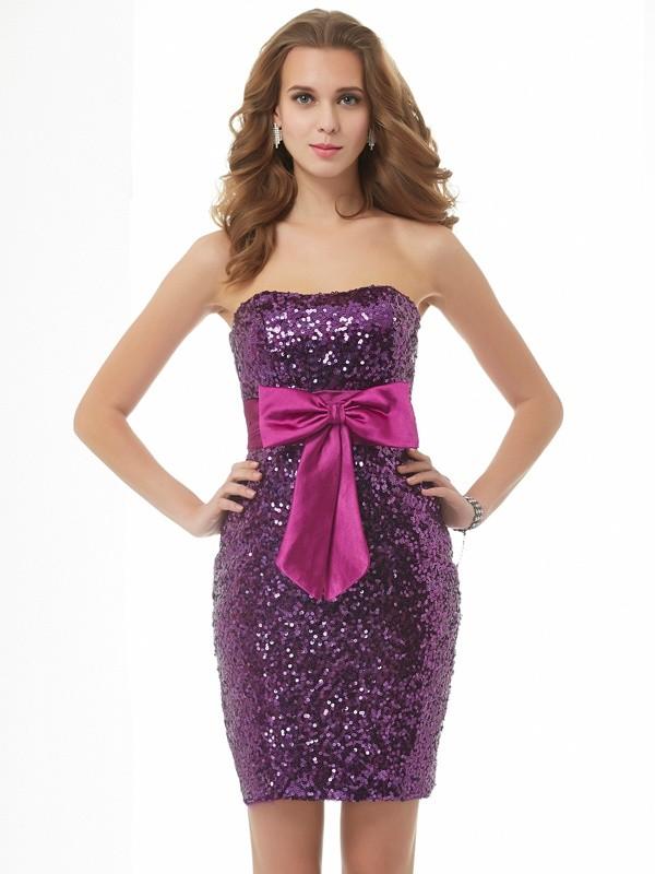 A-Line/Princess Strapless Sleeveless Bowknot Short Organza Homecoming Dresses