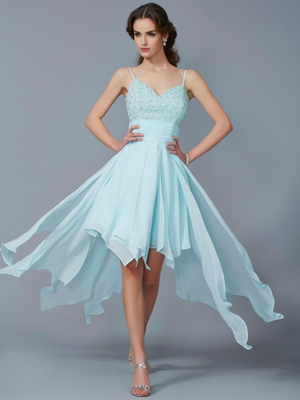 A-Line/Princess Spaghetti Straps Sleeveless Beading High Low Chiffon Homecoming Dresses