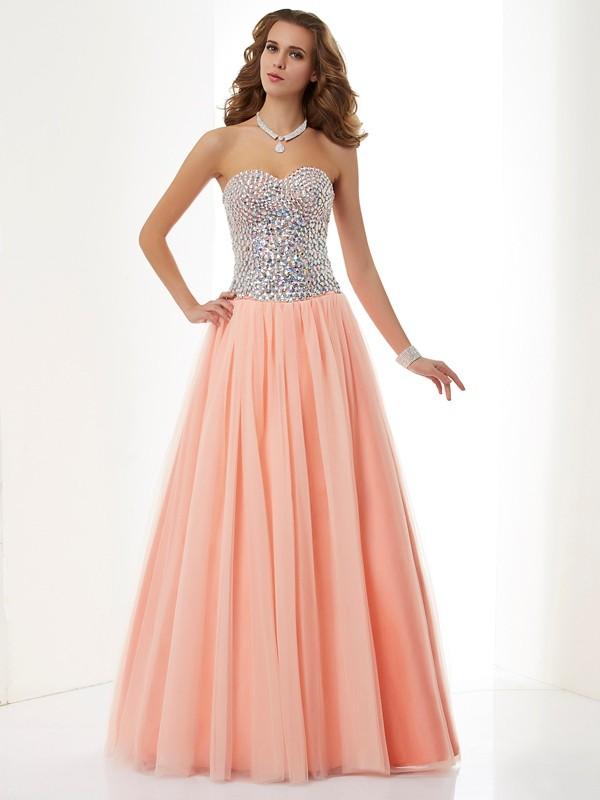 A-Line/Princess Sweetheart Sleeveless Beading Long Elastic Woven Satin Dresses