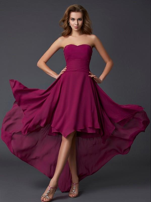 A-Line/Princess Sweetheart Sleeveless Pleats High Low Chiffon Dresses