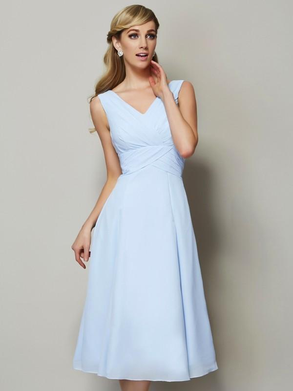 2ff78442ceb A-Line Princess V-neck Sleeveless Pleats Short Chiffon Bridesmaid ...