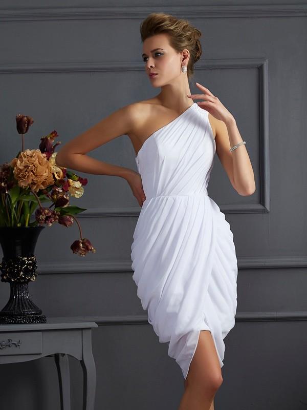 Sheath/Column One-Shoulder Sleeveless Pleats Short Chiffon Homecoming Dresses