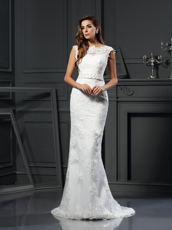 A-Line/Princess Bateau Lace Sleeveless Long Satin Wedding Dresses