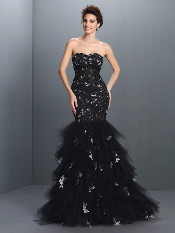 Trumpet/Mermaid Sweetheart Paillette Sleeveless Long Net Dresses