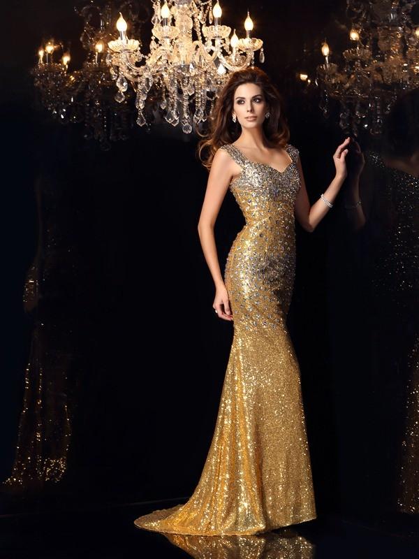 Trumpet/Mermaid Straps Rhinestone Sleeveless Long Sequins Dresses
