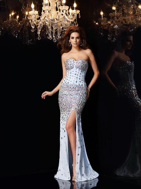 Trumpet/Mermaid Sweetheart Rhinestone Sleeveless Long Chiffon Dresses
