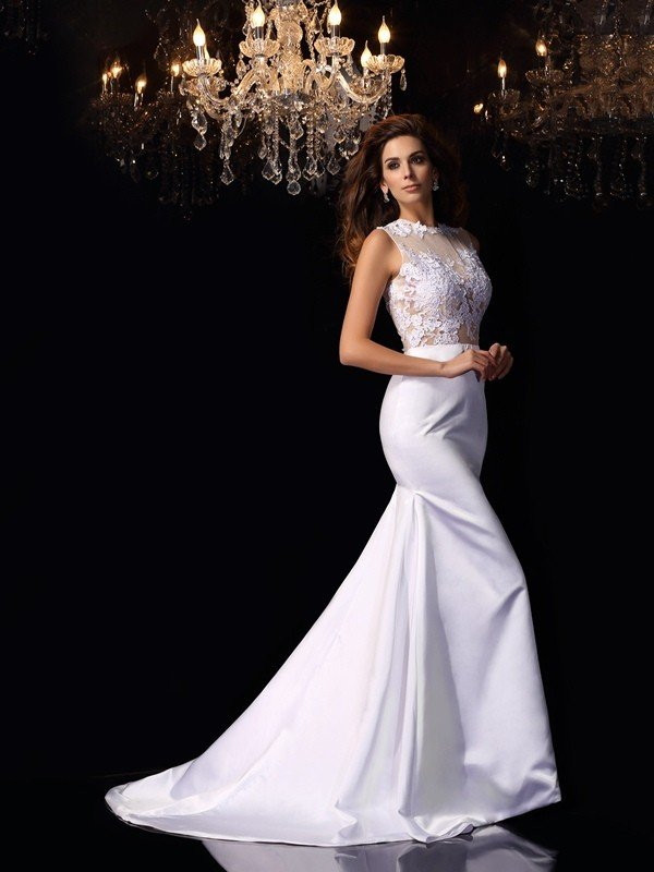 Trumpet/Mermaid High Neck Applique Sleeveless Long Satin Wedding Dresses