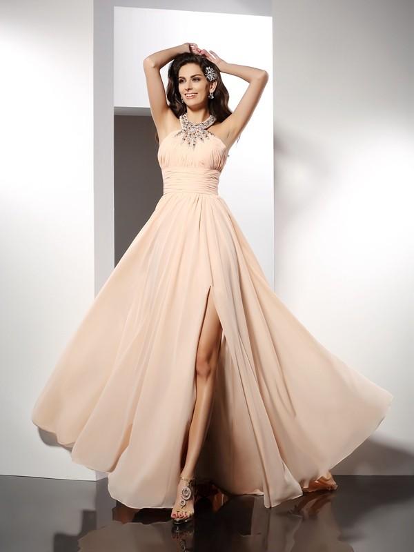 A-Line/Princess Jewel Ruffles Sleeveless Long Chiffon Dresses