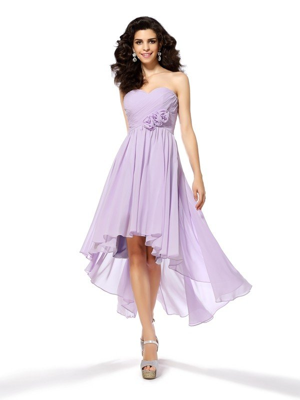 A-Line/Princess Sweetheart Hand-Made Flower Sleeveless High Low Chiffon Cocktail Dresses