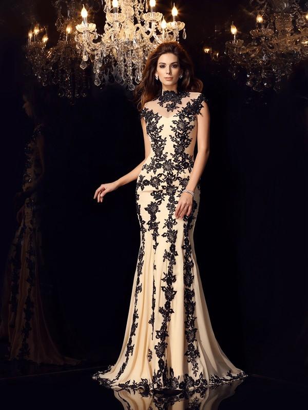 Trumpet/Mermaid High Neck Applique Sleeveless Long Chiffon Dresses