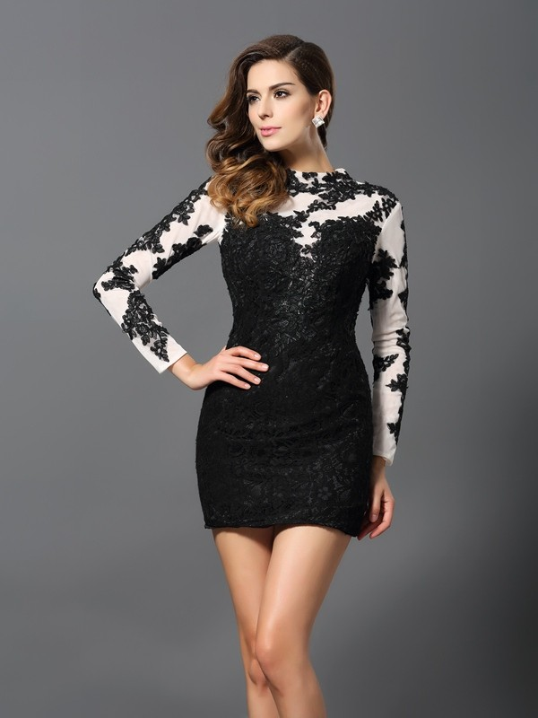 Sheath/Column High Neck Applique Long Sleeves Short Lace Cocktail Dresses