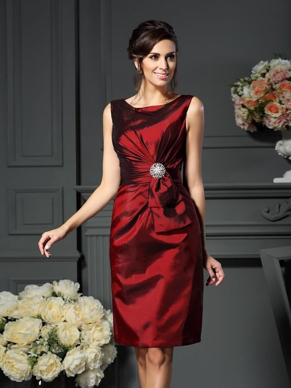 Sheath/Column Scoop Pleats Sleeveless Short Taffeta Mother of the Bride Dresses