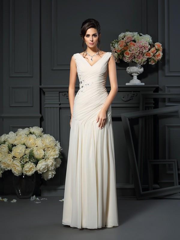 Sheath/Column V-neck Beading Sleeveless Long Chiffon Mother of the Bride Dresses