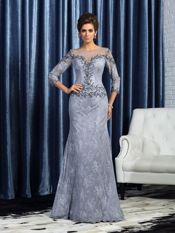 Trumpet/Mermaid Bateau Beading 3/4 Sleeves Long Lace Mother of the Bride Dresses