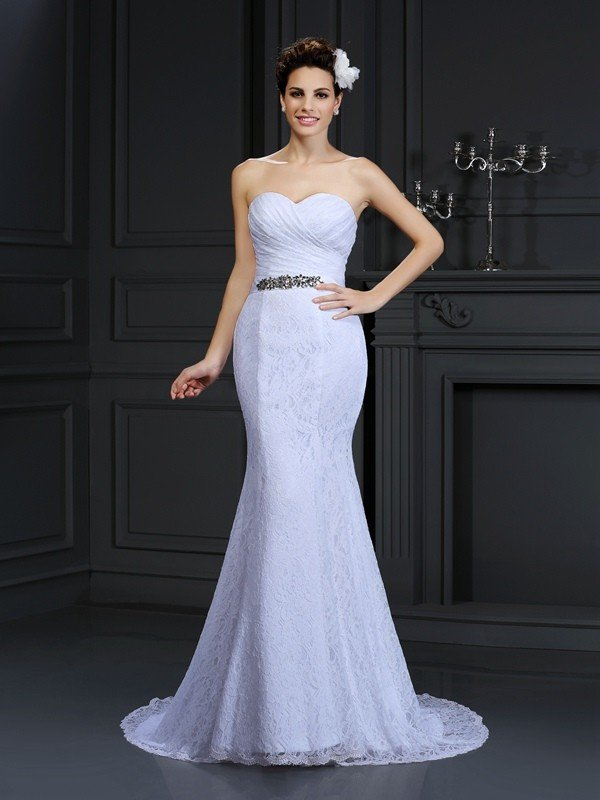 Trumpet/Mermaid Sweetheart Sleeveless Long Lace Wedding Dresses