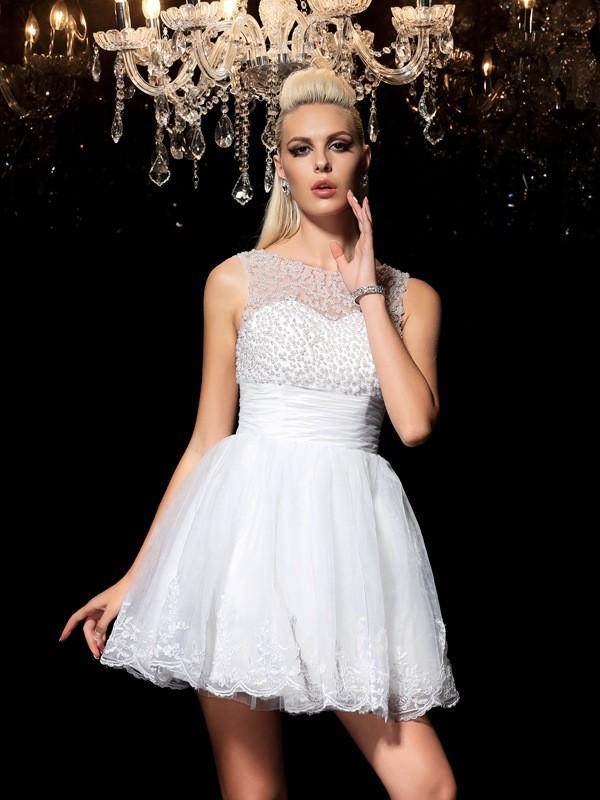 A-Line/Princess Sheer Neck Beading Sleeveless Short Elastic Woven Satin Cocktail Dresses