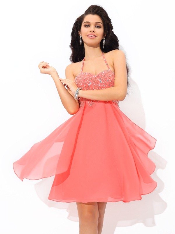 A-Line/Princess Halter Beading Sleeveless Short Chiffon Cocktail Dresses