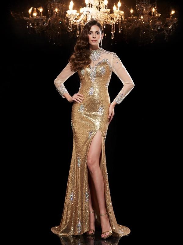 Trumpet/Mermaid High Neck Beading 3/4 Sleeves Long Sequins Dresses