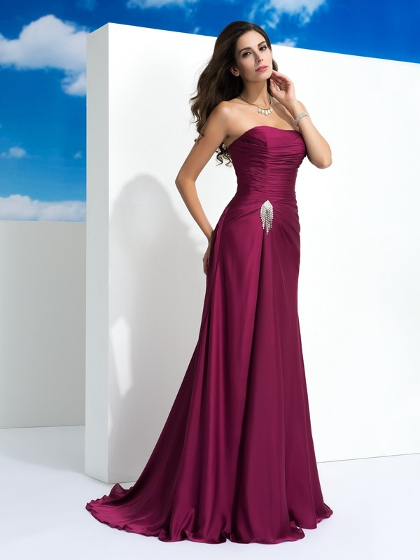 A-Line Princess Strapless Pleats Sleeveless Long Satin Chiffon ... d42dda9ca