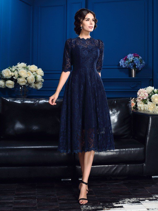 A-Line/Princess Jewel Lace 1/2 Sleeves Short Lace Mother of the Bride Dresses