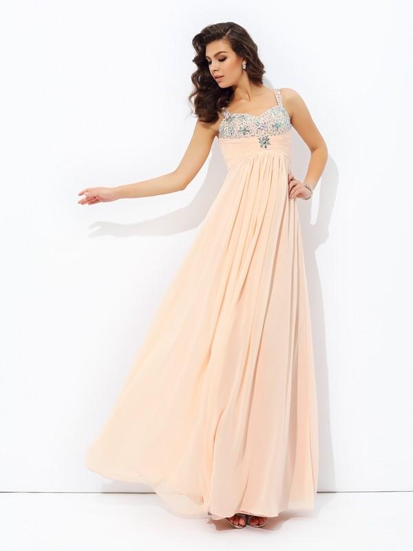 A-line/Princess Spaghetti Straps Beading Sleeveless Long Chiffon Dresses