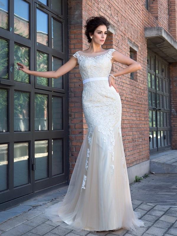 Trumpet/Mermaid Sheer Neck Applique Short Sleeves Long Net Dresses