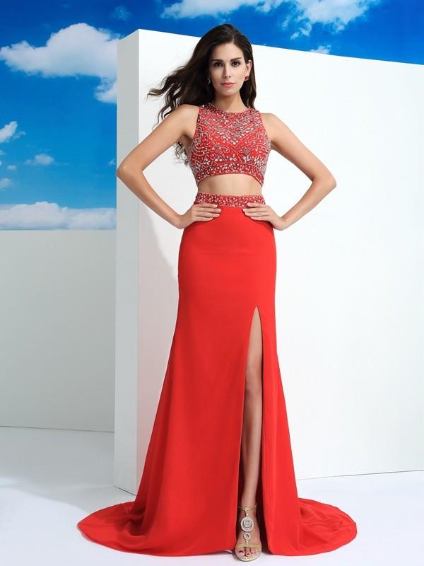 Sheath/Column Scoop Beading Sleeveless Long Chiffon Two Piece Dresses