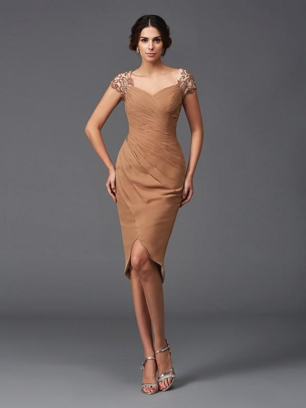 Sheath/Column Sweetheart Applique Short Sleeves High Low Chiffon Cocktail Dresses