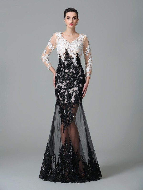 Sheath/Column V-neck Lace 3/4 Sleeves Long Net Dresses