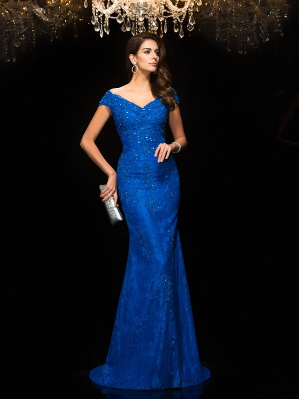 Trumpet/Mermaid V-neck Lace Sleeveless Long Lace Mother of the Bride Dresses