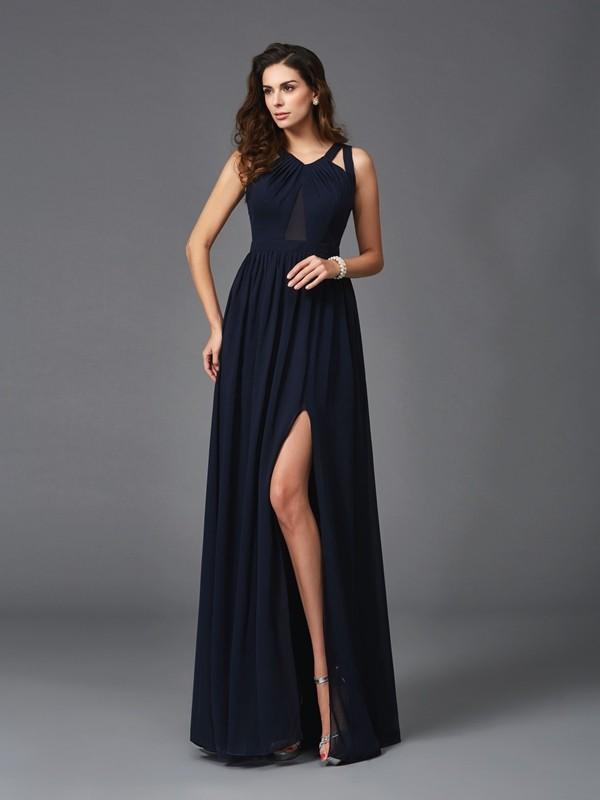 A-Line/Princess Straps Sleeveless Long Chiffon Dresses