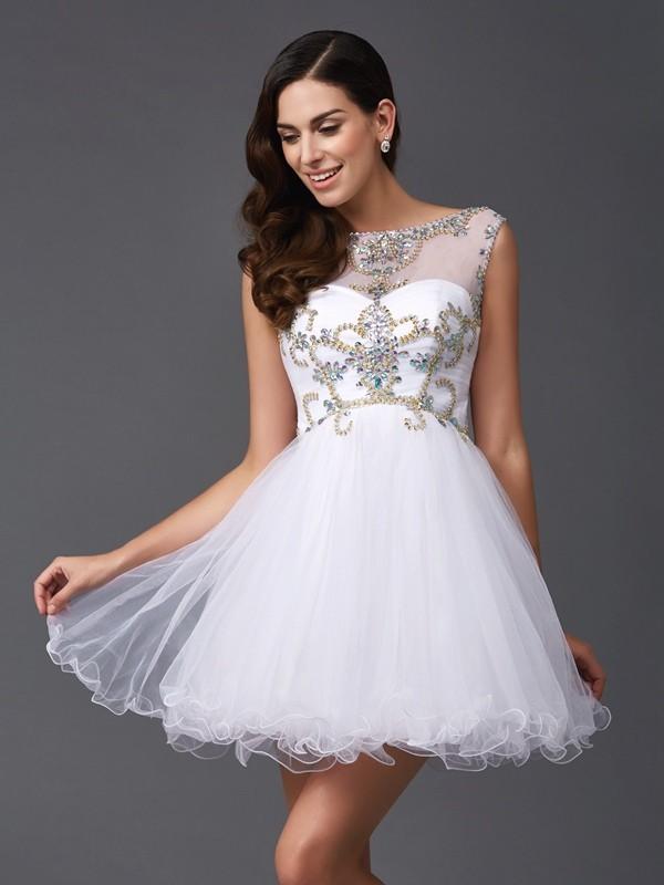 A-Line/Princess Scoop Beading Sleeveless Short Net Dresses
