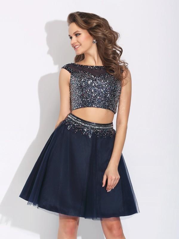 A-Line/Princess Bateau Beading Sleeveless Short Net Two Piece Dresses