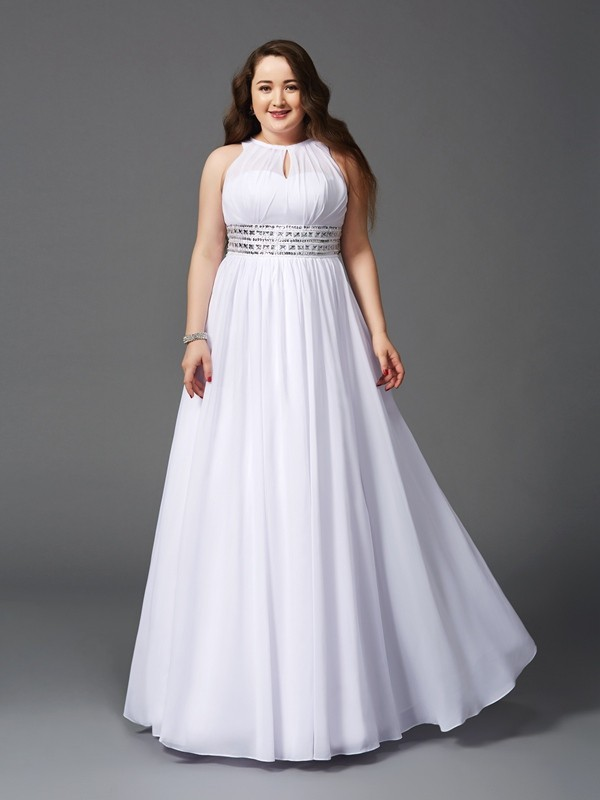 A-Line/Princess Jewel Beading Sleeveless Long Chiffon Plus Size Dresses