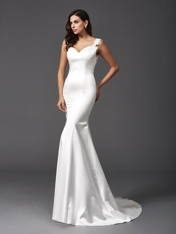 Trumpet/Mermaid Straps Beading Sleeveless Long Satin Wedding Dresses