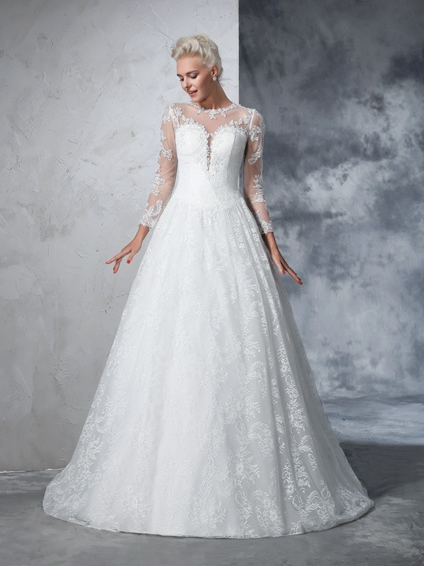 Ball Gown Jewel Lace Long Sleeves Long Lace Wedding Dresses