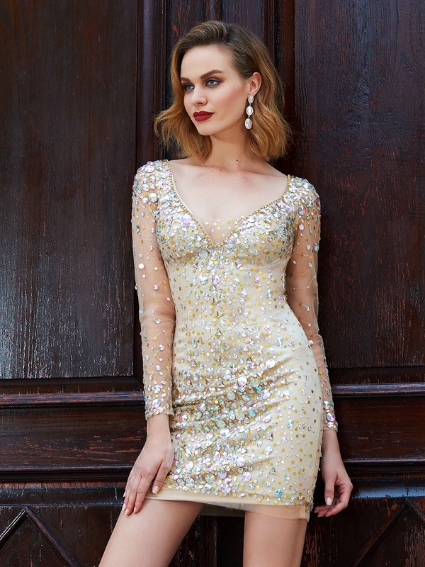Sheath/Column Scoop Long Sleeves Net Rhinestone Short/Mini Dresses