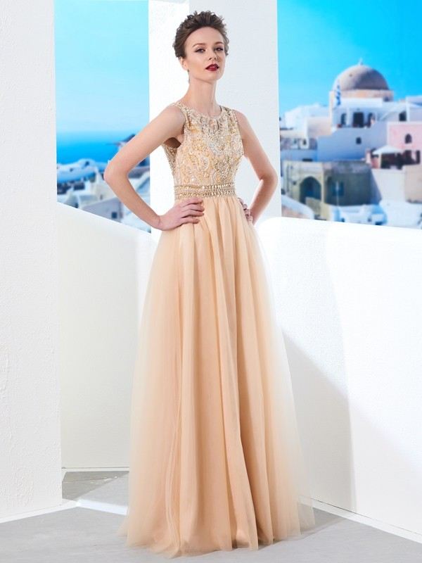 A-Line/Princess Scoop Sleeveless Floor-Length Beading Tulle Dresses