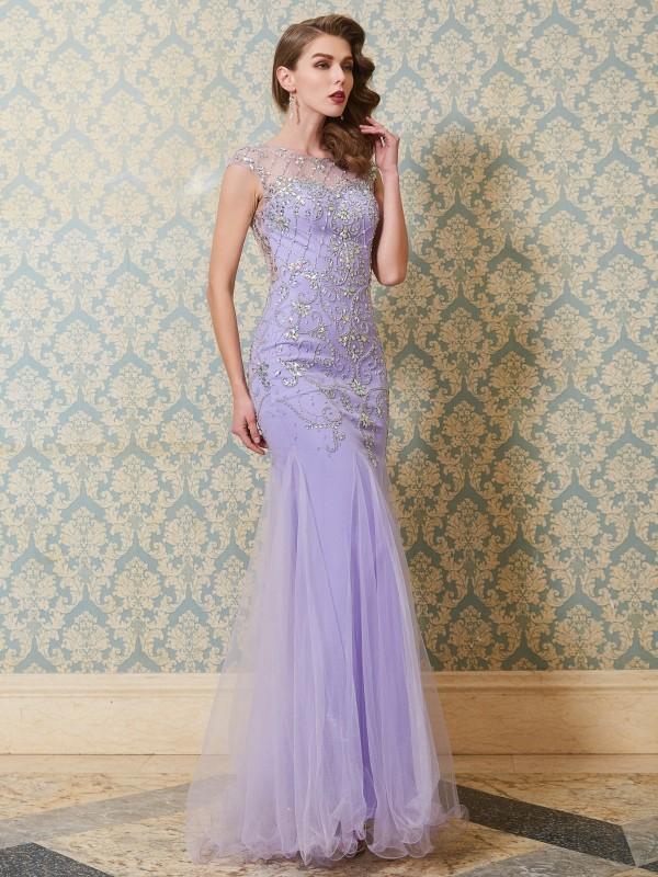 Trumpet/Mermaid Scoop Sleeveless Beading Floor-length Tulle Dresses