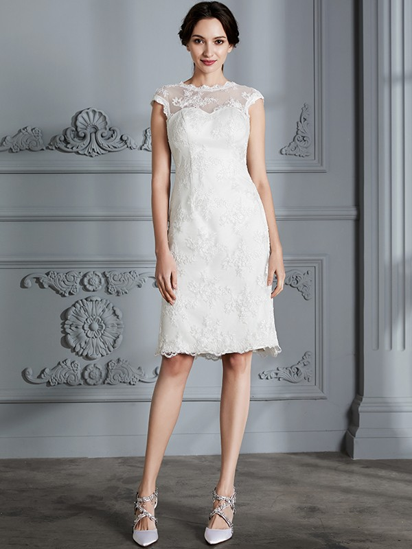 A-Line/Princess Sleeveless Scoop Knee-Length Lace Satin Wedding Dresses
