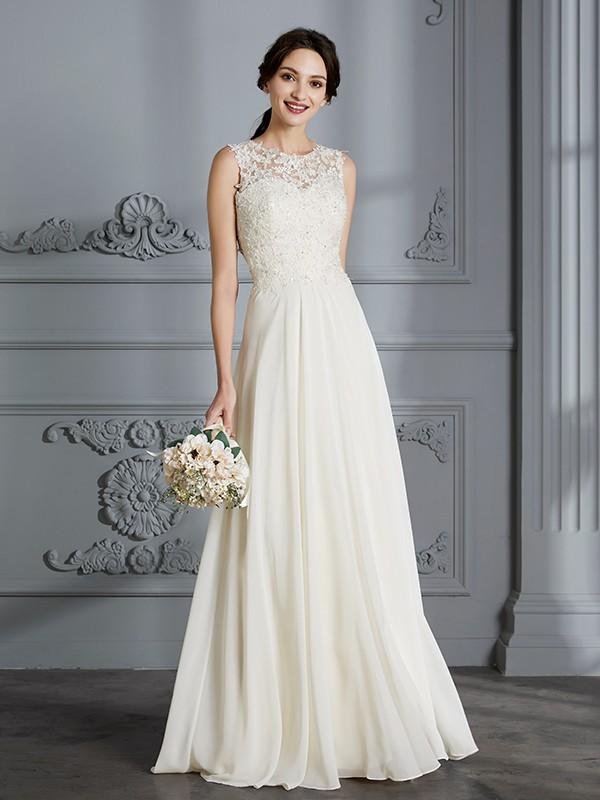 A-Line/Princess Scoop Chiffon Sleeveless Floor-Length Wedding Dresses