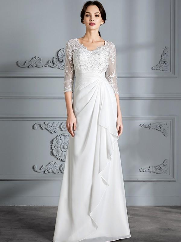 Sheath/Column V-neck 3/4 Sleeves Chiffon Floor-Length Wedding Dresses