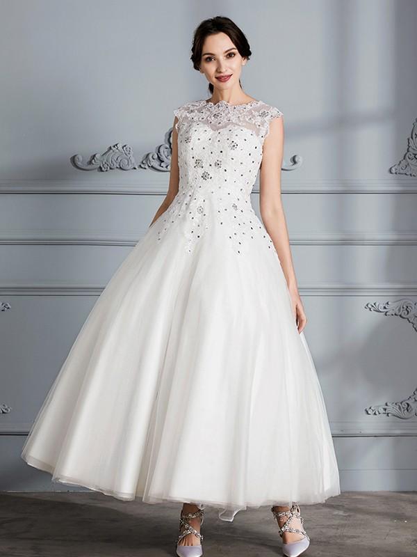 Ball Gown Scoop Sleeveless Tea-Length Tulle Wedding Dresses