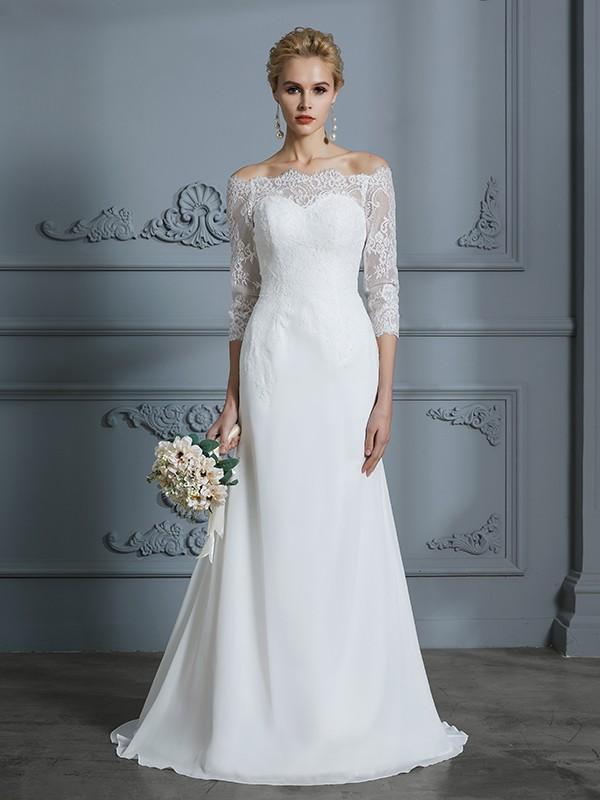 Trumpet/Mermaid 1/2 Sleeves Off-the-Shoulder Sweep/Brush Train Chiffon Wedding Dresses
