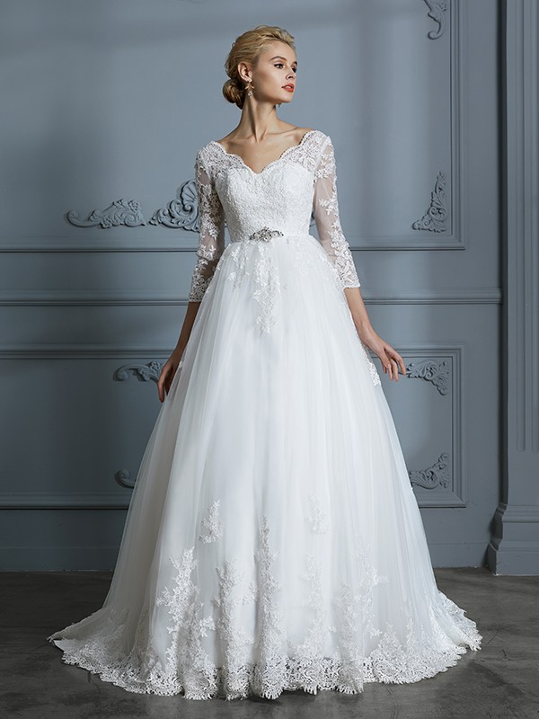 Ball Gown V Neck 34 Sleeves Court Train Lace Tulle Wedding Dresses