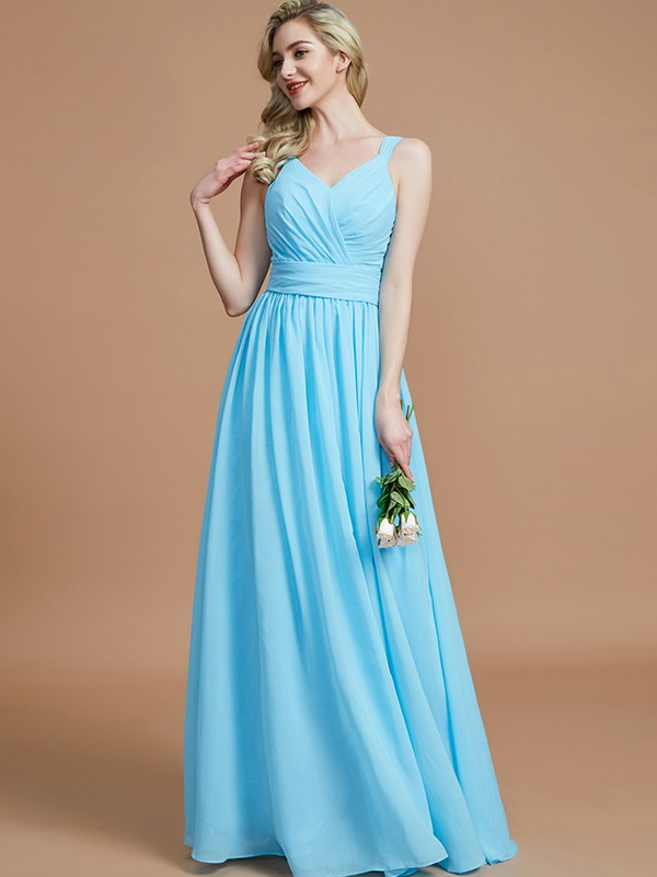 A-Line/Princess V-neck Chiffon Floor-Length Sleeveless Bridesmaid Dresses