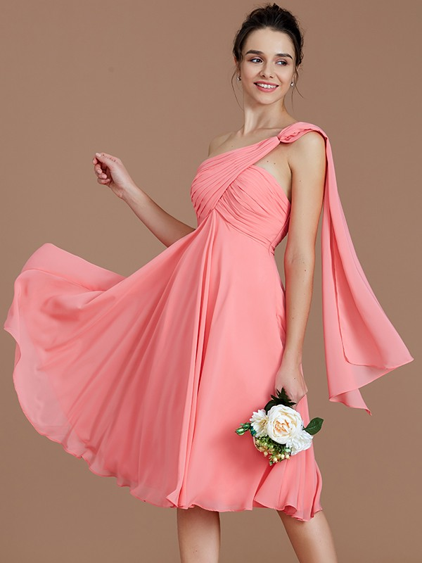 070a6effd1d A-Line Princess One-Shoulder Sleeveless Ruched Short Mini Chiffon ...